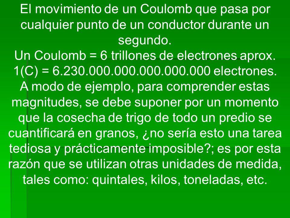 El movimiento de un Coulomb que pasa por cualquier punto de un conductor durante un segundo. Un Coulomb = 6 trillones de electrones aprox. 1(C) = 6.23