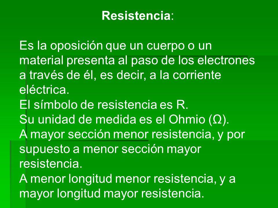 Resistencia: Es la oposición que un cuerpo o un material presenta al paso de los electrones a través de él, es decir, a la corriente eléctrica. El sím
