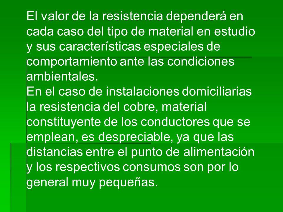 El valor de la resistencia dependerá en cada caso del tipo de material en estudio y sus características especiales de comportamiento ante las condicio