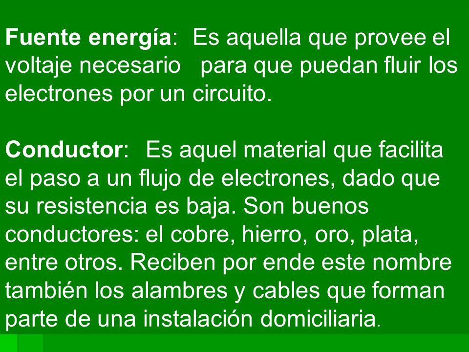 Fuente energía:Es aquella que provee el voltaje necesario para que puedan fluir los electrones por un circuito. Conductor: Es aquel material que facil