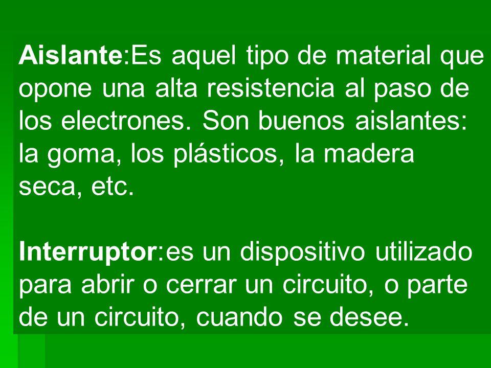 Aislante:Es aquel tipo de material que opone una alta resistencia al paso de los electrones. Son buenos aislantes: la goma, los plásticos, la madera s