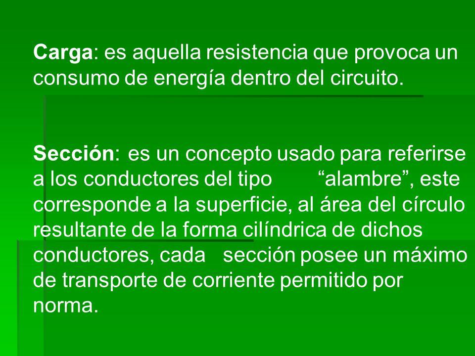 Carga: es aquella resistencia que provoca un consumo de energía dentro del circuito. Sección:es un concepto usado para referirse a los conductores del
