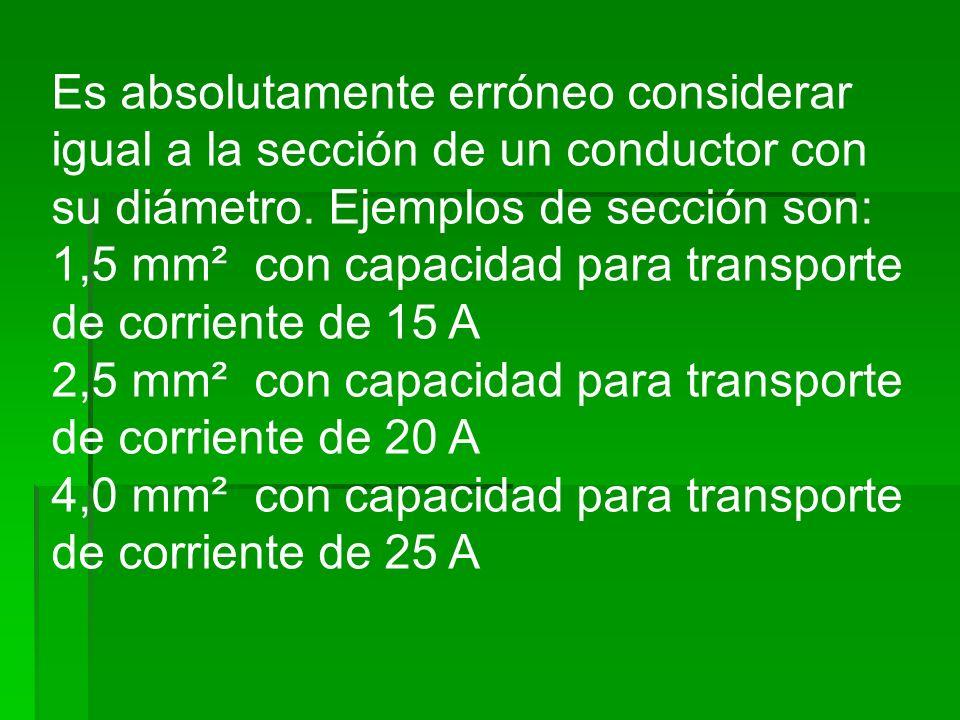 Es absolutamente erróneo considerar igual a la sección de un conductor con su diámetro. Ejemplos de sección son: 1,5 mm² con capacidad para transporte