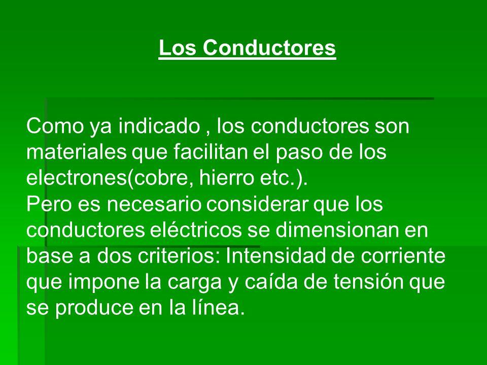 Los Conductores Como ya indicado, los conductores son materiales que facilitan el paso de los electrones(cobre, hierro etc.). Pero es necesario consid