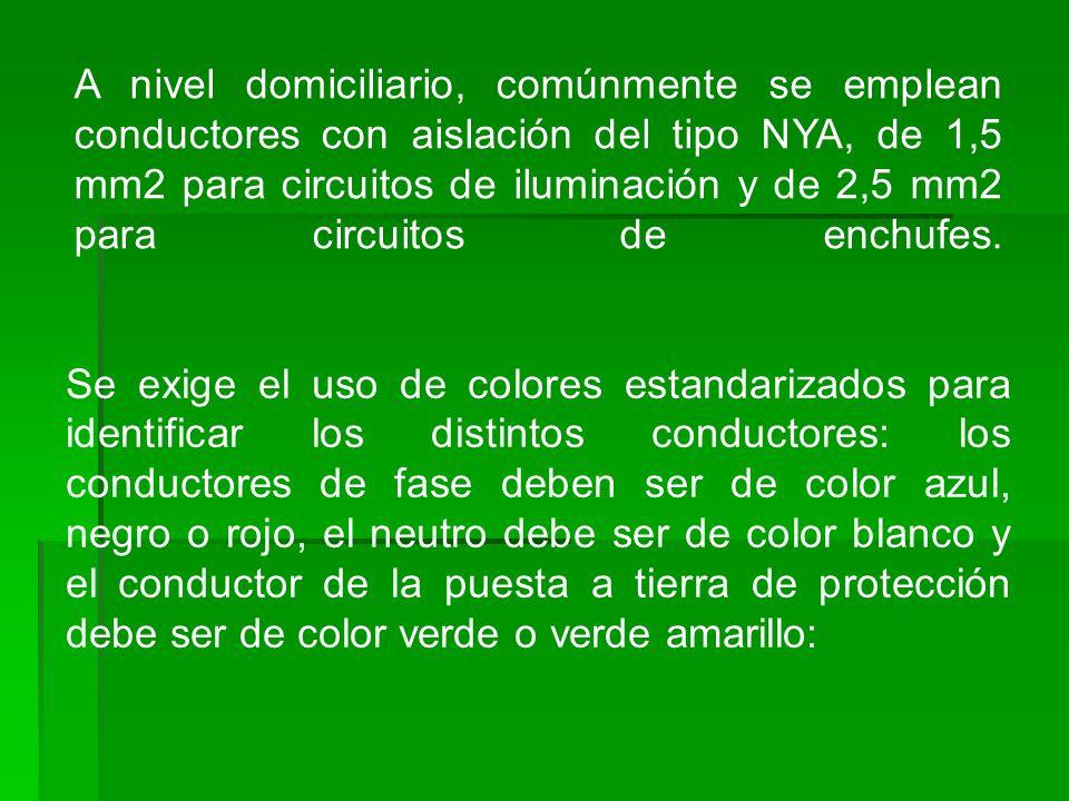 A nivel domiciliario, comúnmente se emplean conductores con aislación del tipo NYA, de 1,5 mm2 para circuitos de iluminación y de 2,5 mm2 para circuit