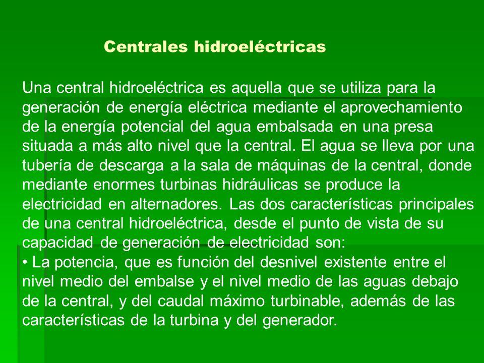 Una central hidroeléctrica es aquella que se utiliza para la generación de energía eléctrica mediante el aprovechamiento de la energía potencial del a