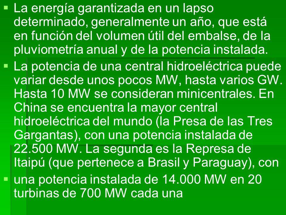 La energía garantizada en un lapso determinado, generalmente un año, que está en función del volumen útil del embalse, de la pluviometría anual y de l