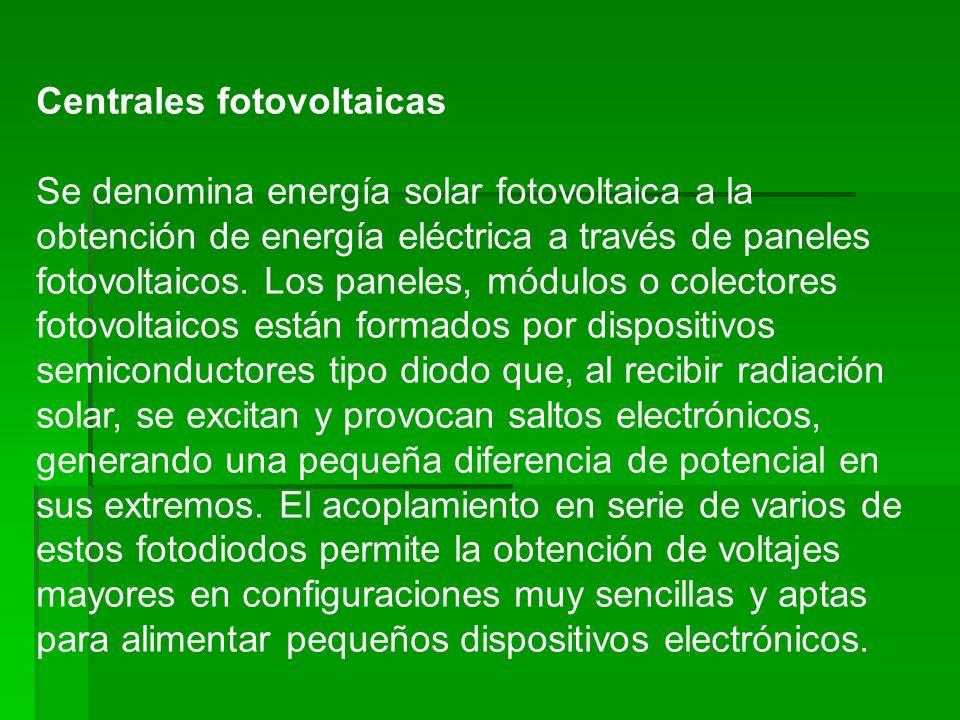 Centrales fotovoltaicas Se denomina energía solar fotovoltaica a la obtención de energía eléctrica a través de paneles fotovoltaicos. Los paneles, mód