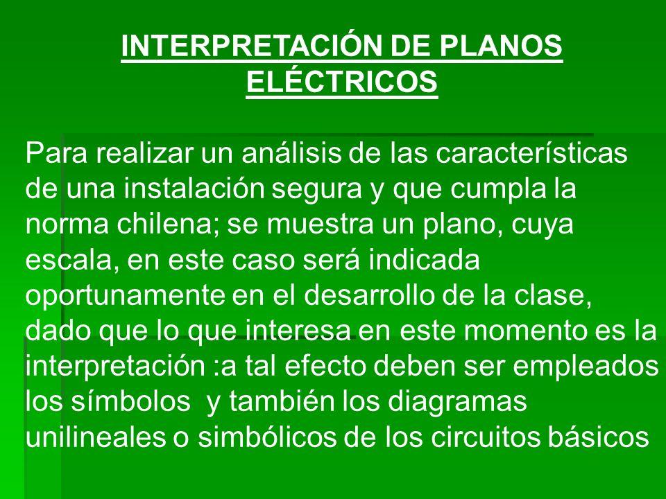 INTERPRETACIÓN DE PLANOS ELÉCTRICOS Para realizar un análisis de las características de una instalación segura y que cumpla la norma chilena; se muest
