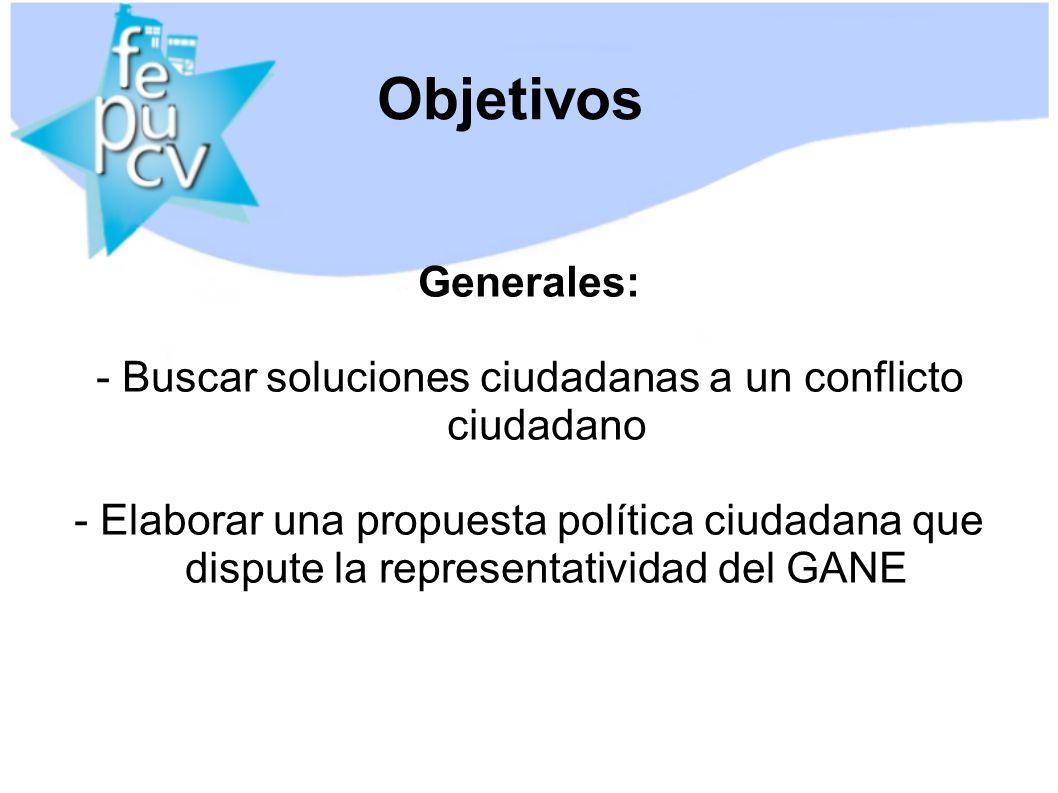 Objetivos Generales: - Buscar soluciones ciudadanas a un conflicto ciudadano - Elaborar una propuesta política ciudadana que dispute la representatividad del GANE