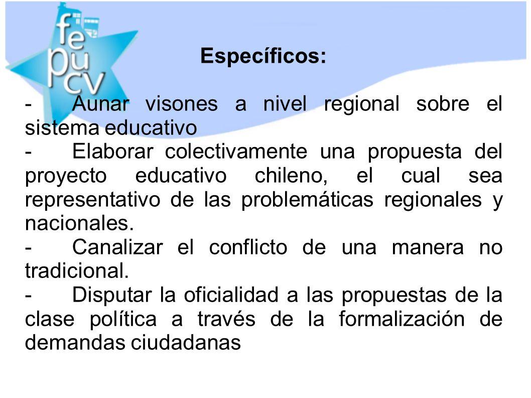 Específicos: -Aunar visones a nivel regional sobre el sistema educativo -Elaborar colectivamente una propuesta del proyecto educativo chileno, el cual sea representativo de las problemáticas regionales y nacionales.