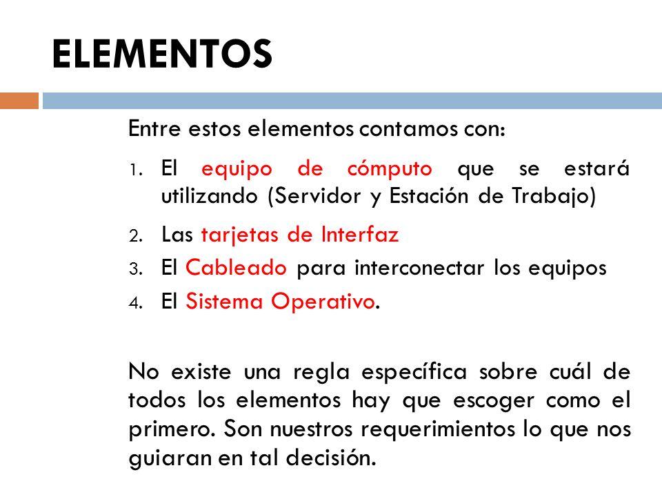 ELEMENTOS Entre estos elementos contamos con: 1. El equipo de cómputo que se estará utilizando (Servidor y Estación de Trabajo) 2. Las tarjetas de Int