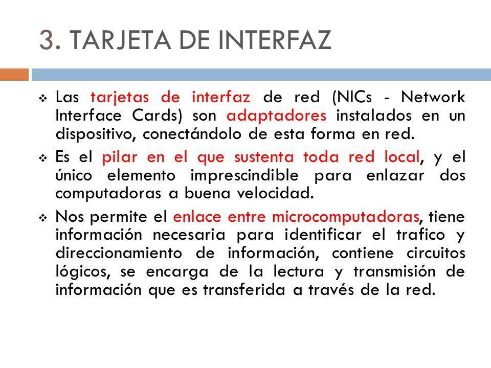 3. TARJETA DE INTERFAZ Las tarjetas de interfaz de red (NICs - Network Interface Cards) son adaptadores instalados en un dispositivo, conectándolo de