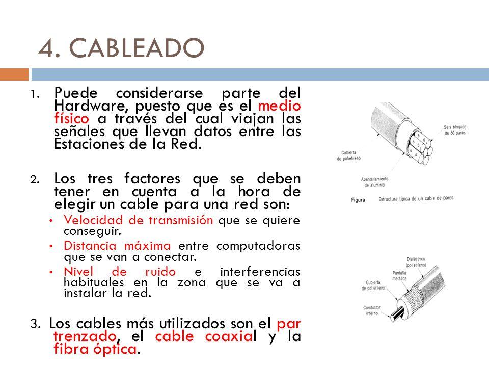 4. CABLEADO 1. Puede considerarse parte del Hardware, puesto que es el medio físico a través del cual viajan las señales que llevan datos entre las Es