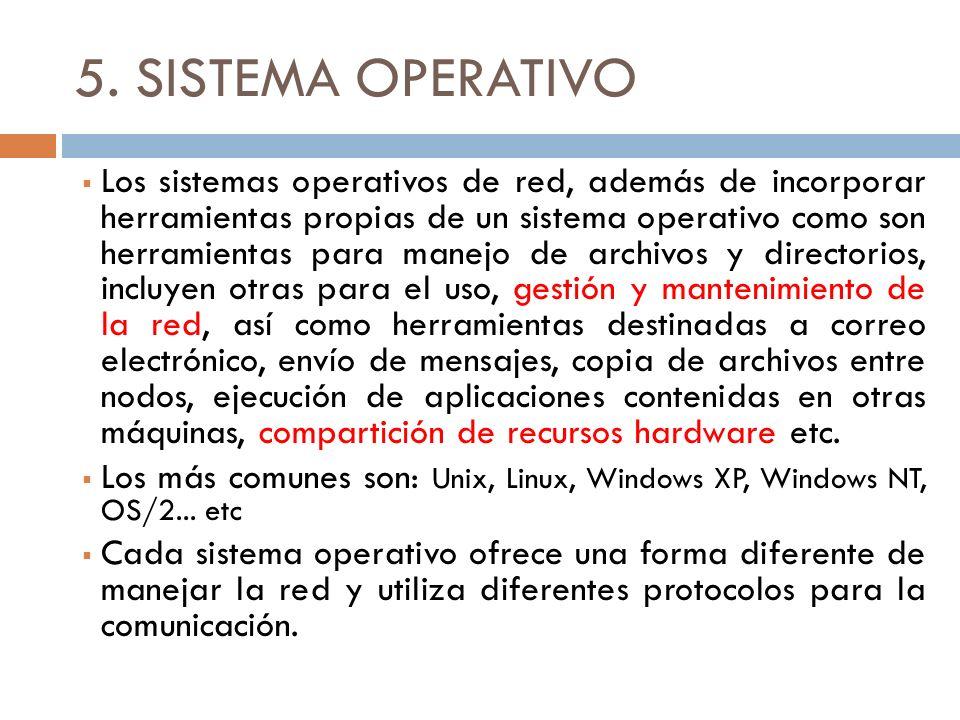 5. SISTEMA OPERATIVO Los sistemas operativos de red, además de incorporar herramientas propias de un sistema operativo como son herramientas para mane