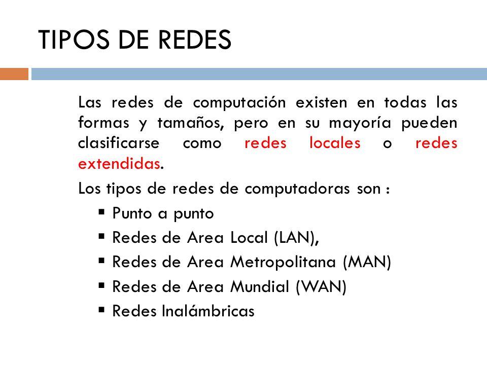 TIPOS DE REDES Las redes de computación existen en todas las formas y tamaños, pero en su mayoría pueden clasificarse como redes locales o redes exten