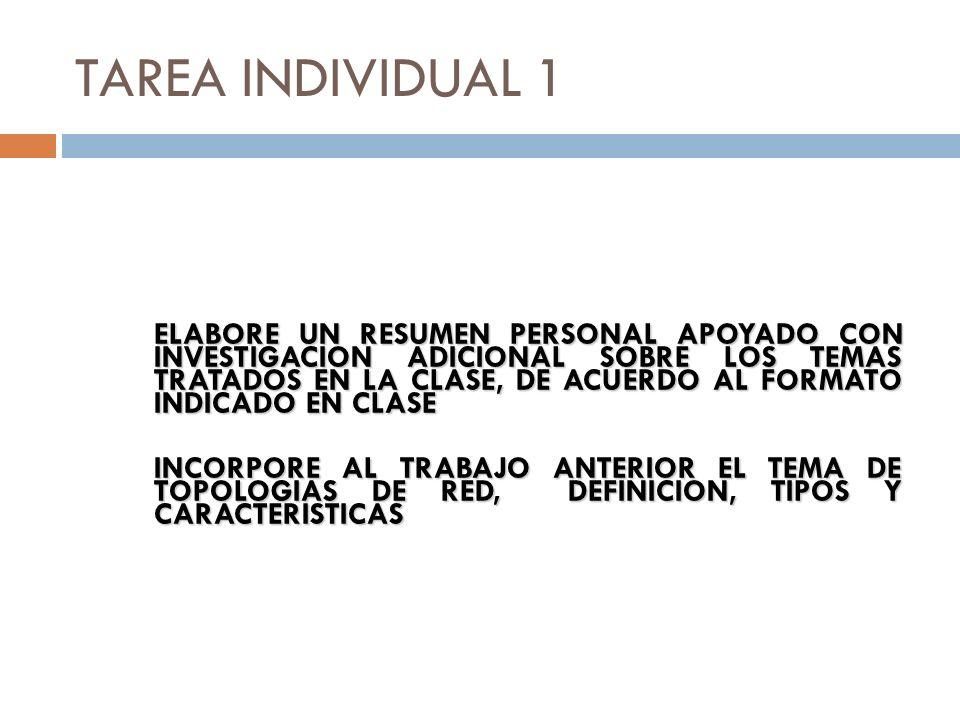 TAREA INDIVIDUAL 1 ELABORE UN RESUMEN PERSONAL APOYADO CON INVESTIGACION ADICIONAL SOBRE LOS TEMAS TRATADOS EN LA CLASE, DE ACUERDO AL FORMATO INDICAD