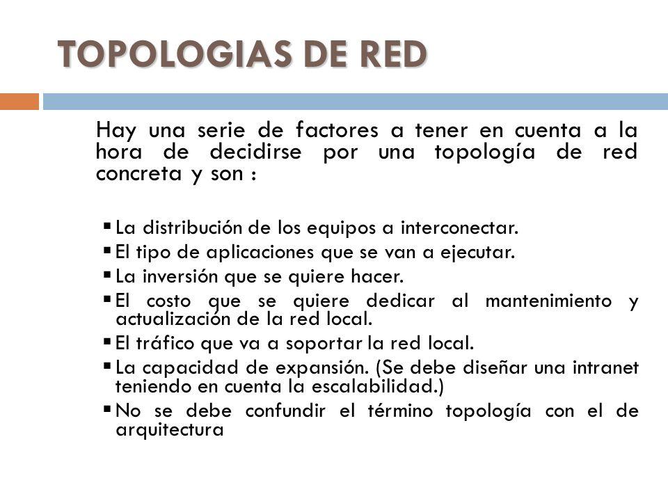 TOPOLOGIAS DE RED Hay una serie de factores a tener en cuenta a la hora de decidirse por una topología de red concreta y son : La distribución de los