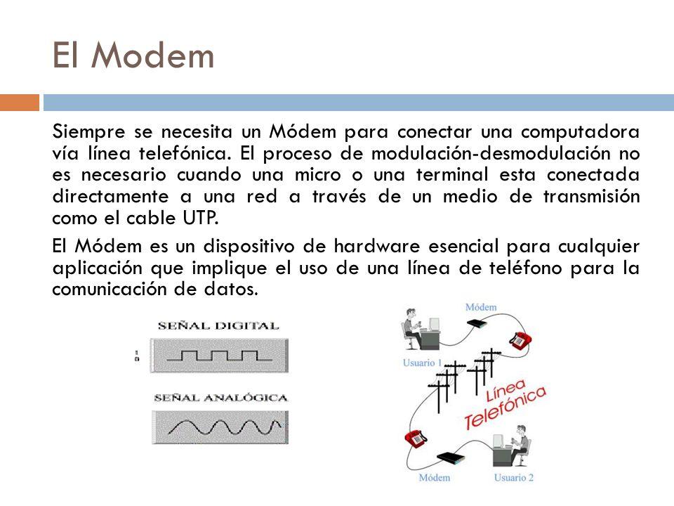 El Modem Siempre se necesita un Módem para conectar una computadora vía línea telefónica. El proceso de modulación-desmodulación no es necesario cuand