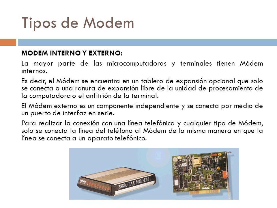 Tipos de Modem MODEM INTERNO Y EXTERNO: La mayor parte de las microcomputadoras y terminales tienen Módem internos. Es decir, el Módem se encuentra en