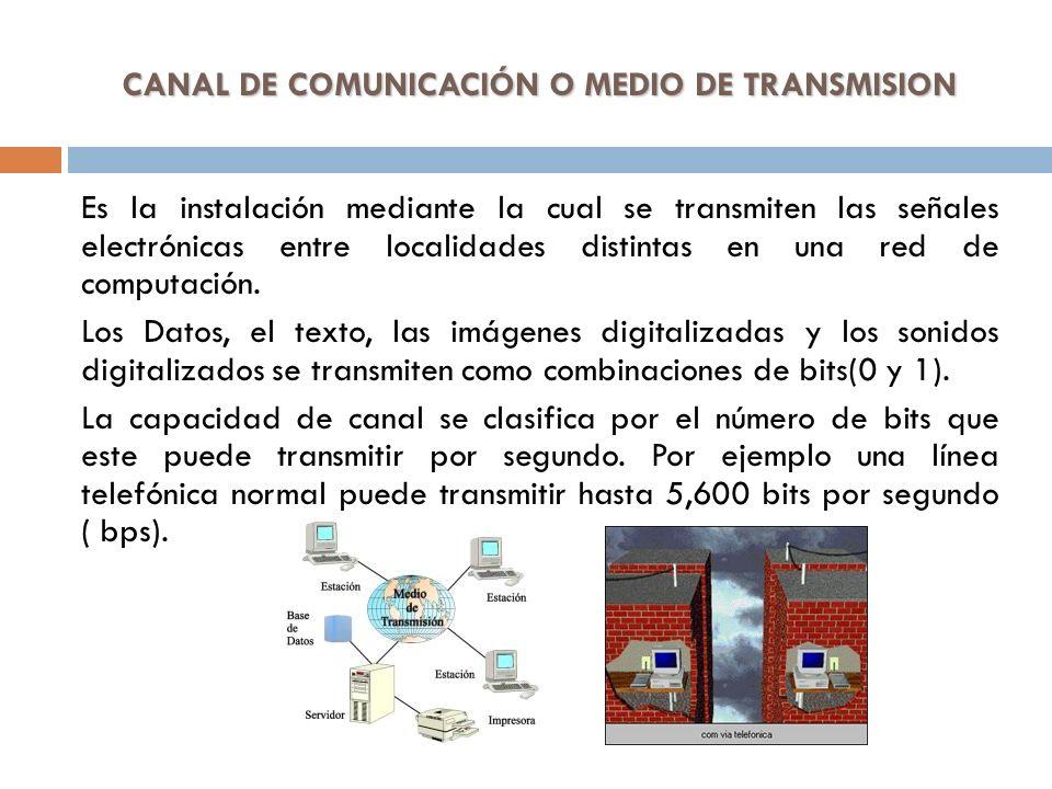 CANAL DE COMUNICACIÓN O MEDIO DE TRANSMISION Es la instalación mediante la cual se transmiten las señales electrónicas entre localidades distintas en