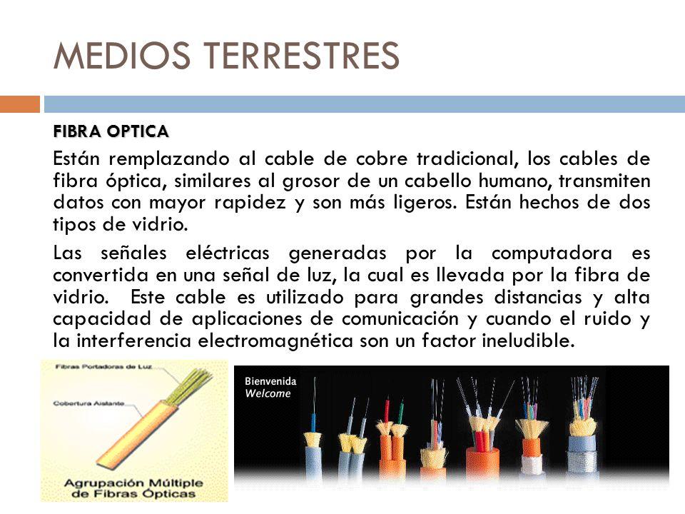 MEDIOS TERRESTRES FIBRA OPTICA Están remplazando al cable de cobre tradicional, los cables de fibra óptica, similares al grosor de un cabello humano,