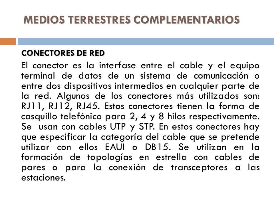 MEDIOS TERRESTRES COMPLEMENTARIOS CONECTORES DE RED El conector es la interfase entre el cable y el equipo terminal de datos de un sistema de comunica