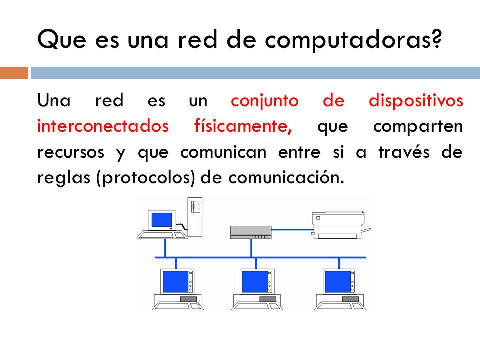 Que es una red de computadoras? Una red es un conjunto de dispositivos interconectados físicamente, que comparten recursos y que comunican entre si a