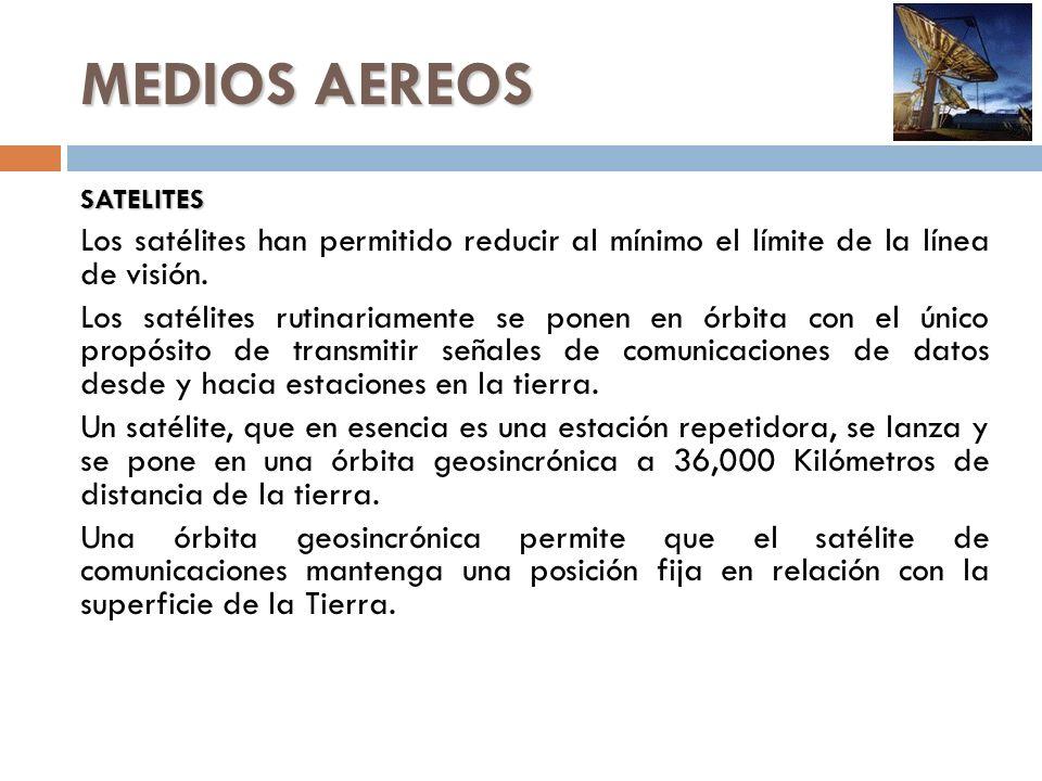 MEDIOS AEREOS SATELITES Los satélites han permitido reducir al mínimo el límite de la línea de visión. Los satélites rutinariamente se ponen en órbita