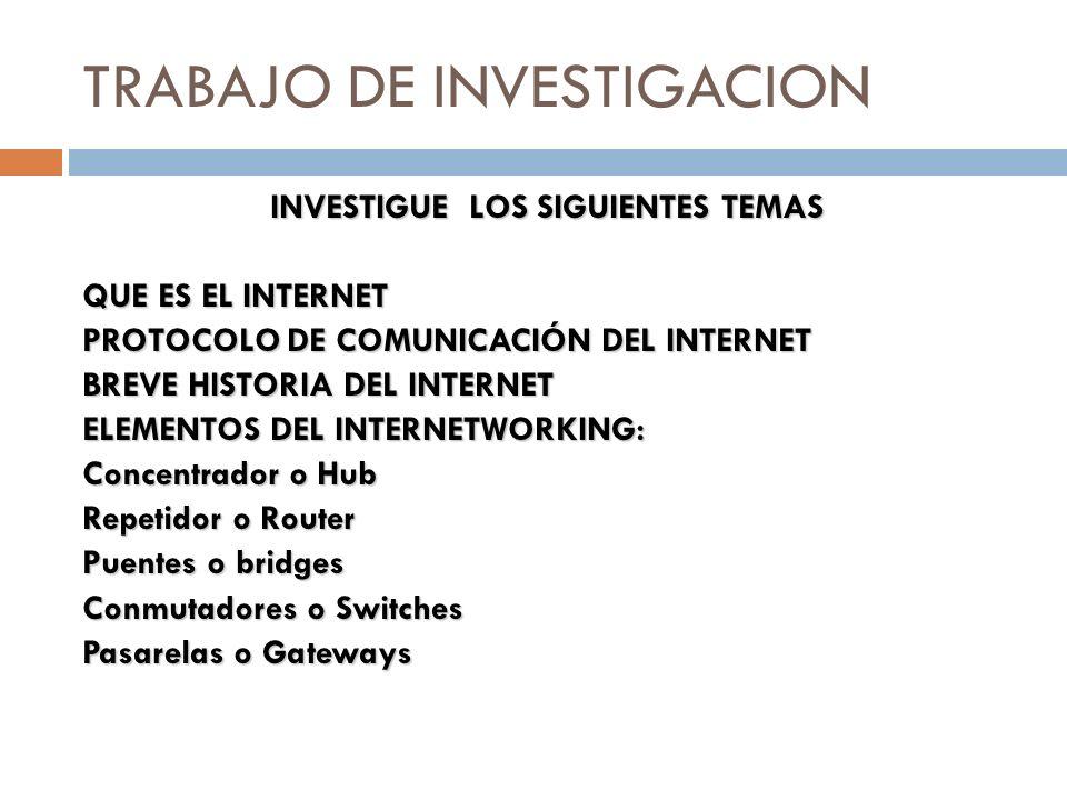 TRABAJO DE INVESTIGACION INVESTIGUE LOS SIGUIENTES TEMAS QUE ES EL INTERNET PROTOCOLO DE COMUNICACIÓN DEL INTERNET BREVE HISTORIA DEL INTERNET ELEMENT