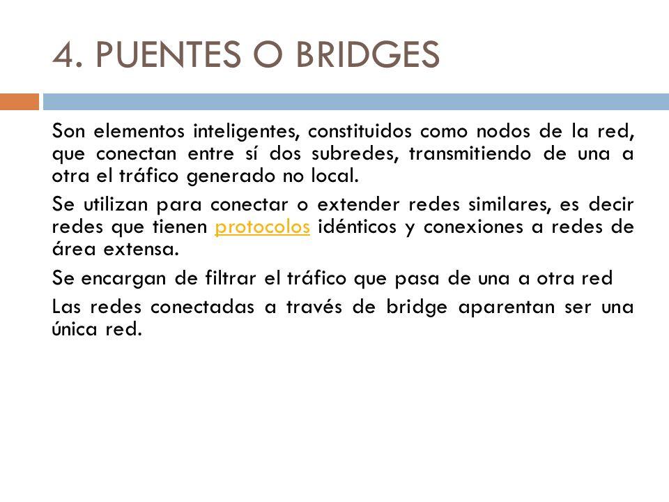 4. PUENTES O BRIDGES Son elementos inteligentes, constituidos como nodos de la red, que conectan entre sí dos subredes, transmitiendo de una a otra el