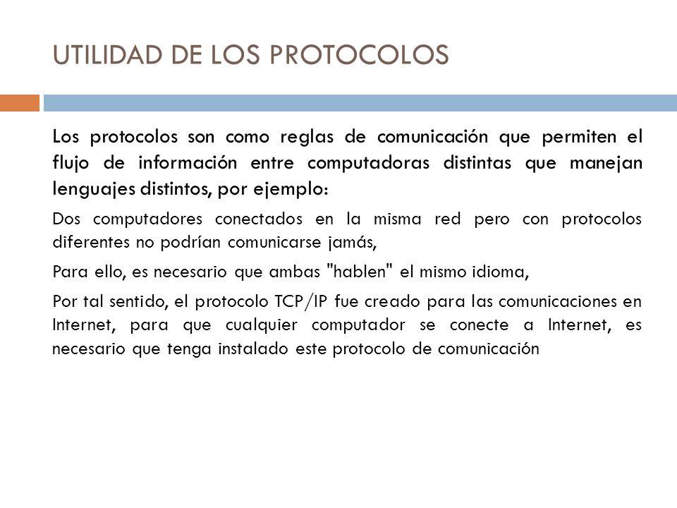 UTILIDAD DE LOS PROTOCOLOS Los protocolos son como reglas de comunicación que permiten el flujo de información entre computadoras distintas que maneja