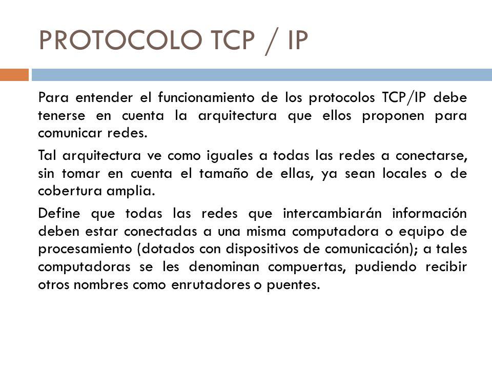 PROTOCOLO TCP / IP Para entender el funcionamiento de los protocolos TCP/IP debe tenerse en cuenta la arquitectura que ellos proponen para comunicar r