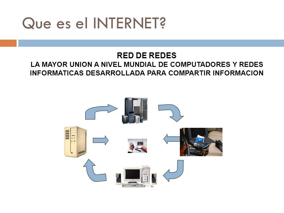 Que es el INTERNET? RED DE REDES LA MAYOR UNION A NIVEL MUNDIAL DE COMPUTADORES Y REDES INFORMATICAS DESARROLLADA PARA COMPARTIR INFORMACION