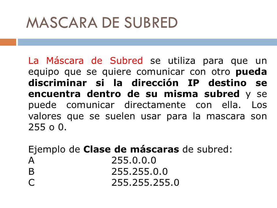 MASCARA DE SUBRED La Máscara de Subred se utiliza para que un equipo que se quiere comunicar con otro pueda discriminar si la dirección IP destino se