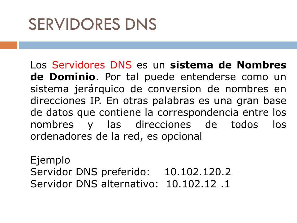 SERVIDORES DNS Los Servidores DNS es un sistema de Nombres de Dominio. Por tal puede entenderse como un sistema jerárquico de conversion de nombres en