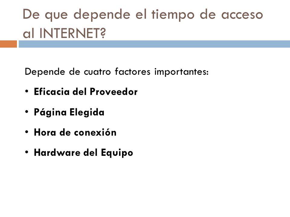 De que depende el tiempo de acceso al INTERNET? Depende de cuatro factores importantes: Eficacia del Proveedor Página Elegida Hora de conexión Hardwar