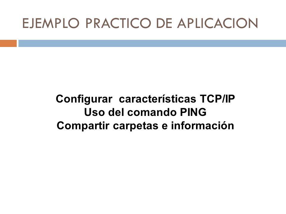 EJEMPLO PRACTICO DE APLICACION Configurar características TCP/IP Uso del comando PING Compartir carpetas e información