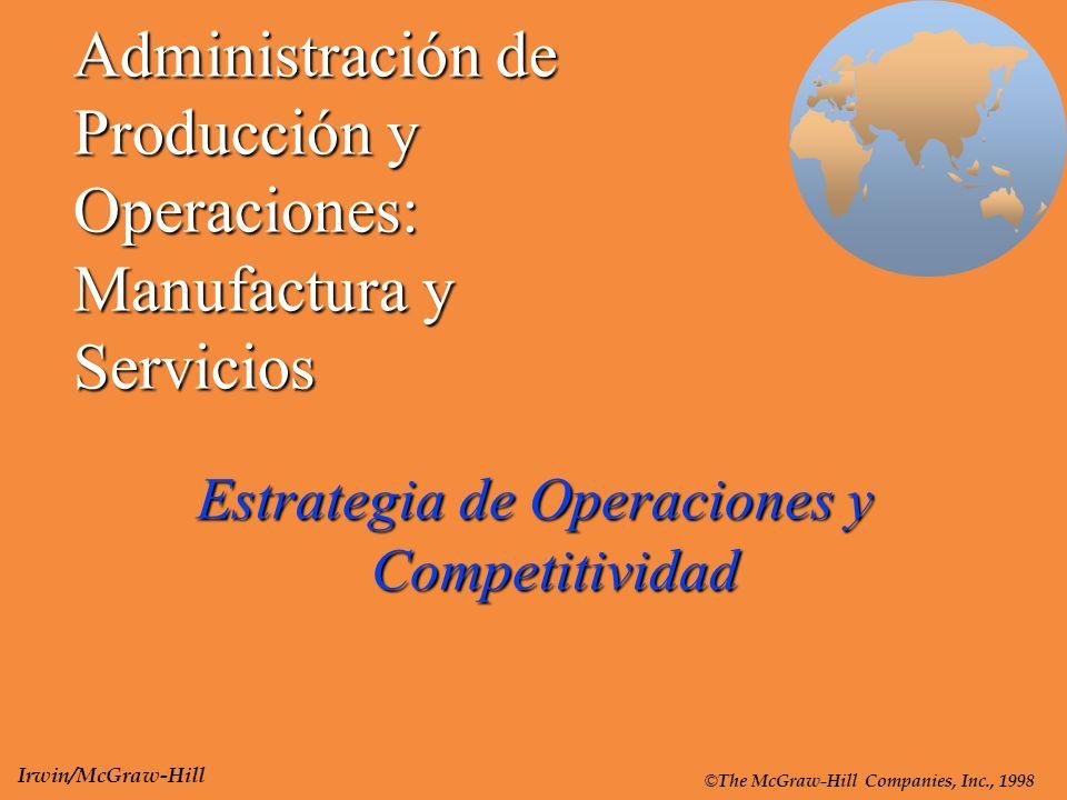 Administración de Producción y Operaciones: Manufactura y Servicios Estrategia de Operaciones y Competitividad © The McGraw-Hill Companies, Inc., 1998