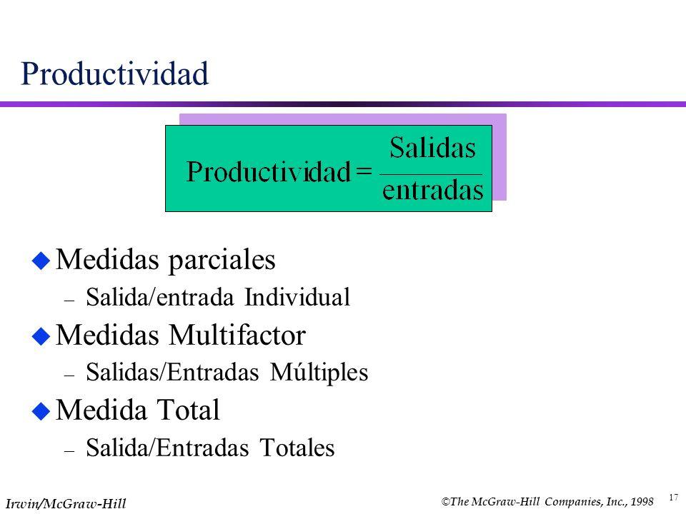 17 Productividad u Medidas parciales – Salida/entrada Individual u Medidas Multifactor – Salidas/Entradas Múltiples u Medida Total – Salida/Entradas T
