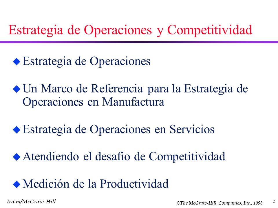 2 Estrategia de Operaciones y Competitividad u Estrategia de Operaciones u Un Marco de Referencia para la Estrategia de Operaciones en Manufactura u E