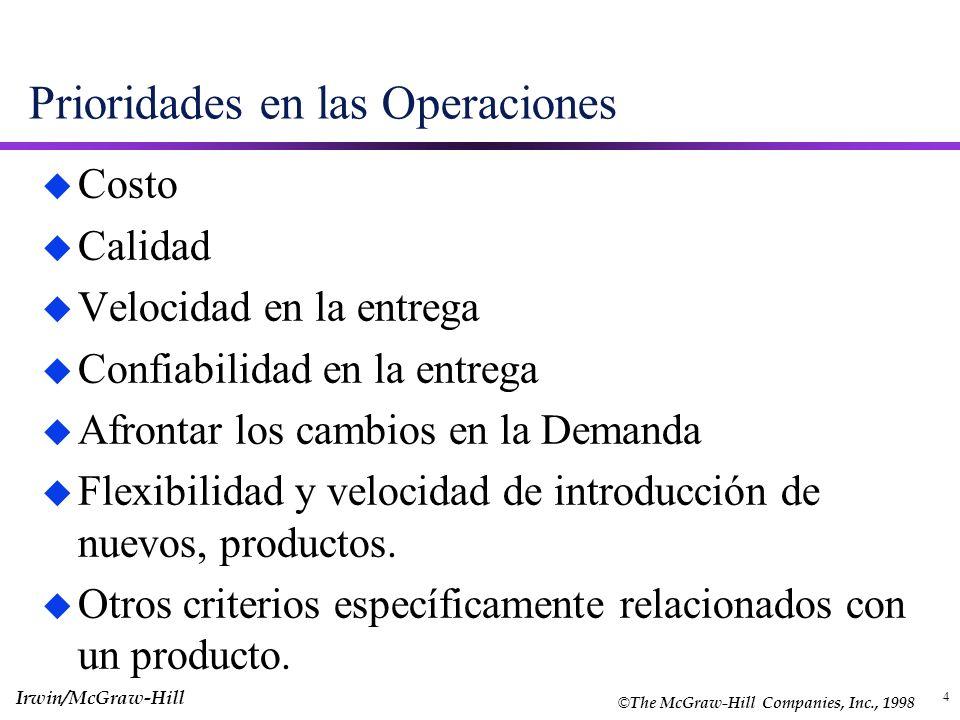 4 Prioridades en las Operaciones u Costo u Calidad u Velocidad en la entrega u Confiabilidad en la entrega u Afrontar los cambios en la Demanda u Flex