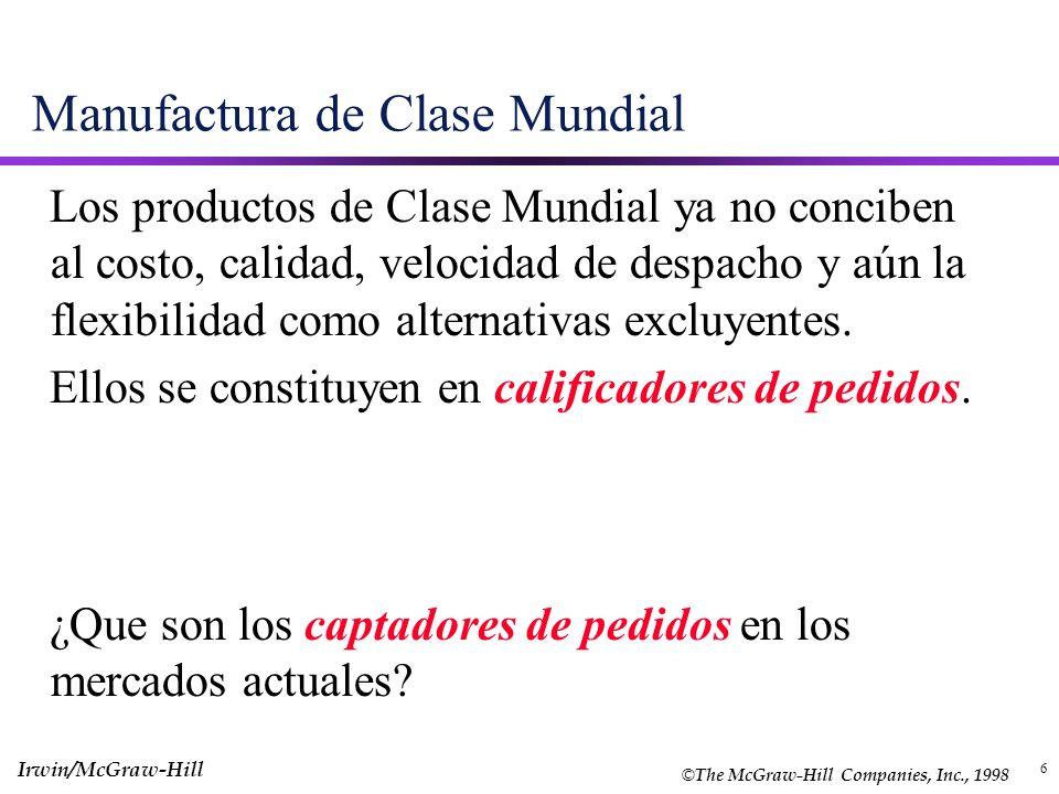 6 Manufactura de Clase Mundial Los productos de Clase Mundial ya no conciben al costo, calidad, velocidad de despacho y aún la flexibilidad como alter