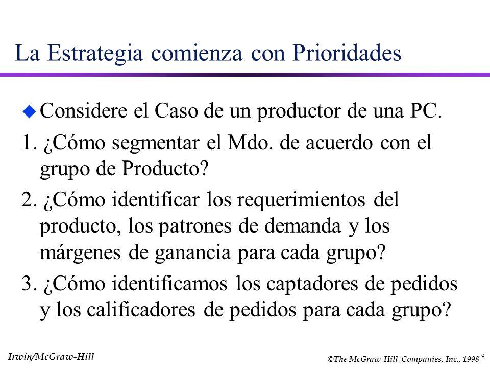 9 La Estrategia comienza con Prioridades u Considere el Caso de un productor de una PC. 1. ¿Cómo segmentar el Mdo. de acuerdo con el grupo de Producto