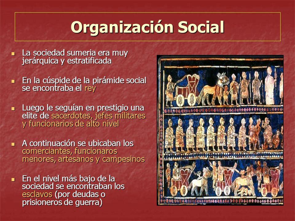 Organización Social La sociedad sumeria era muy jerárquica y estratificada La sociedad sumeria era muy jerárquica y estratificada En la cúspide de la