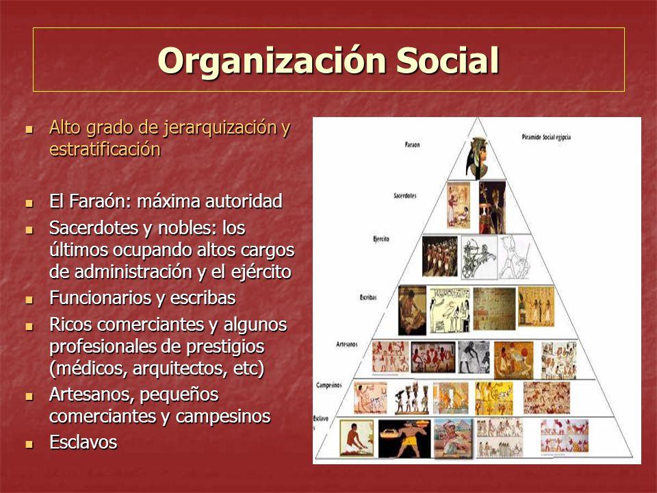 Organización Social Alto grado de jerarquización y estratificación Alto grado de jerarquización y estratificación El Faraón: máxima autoridad El Faraó