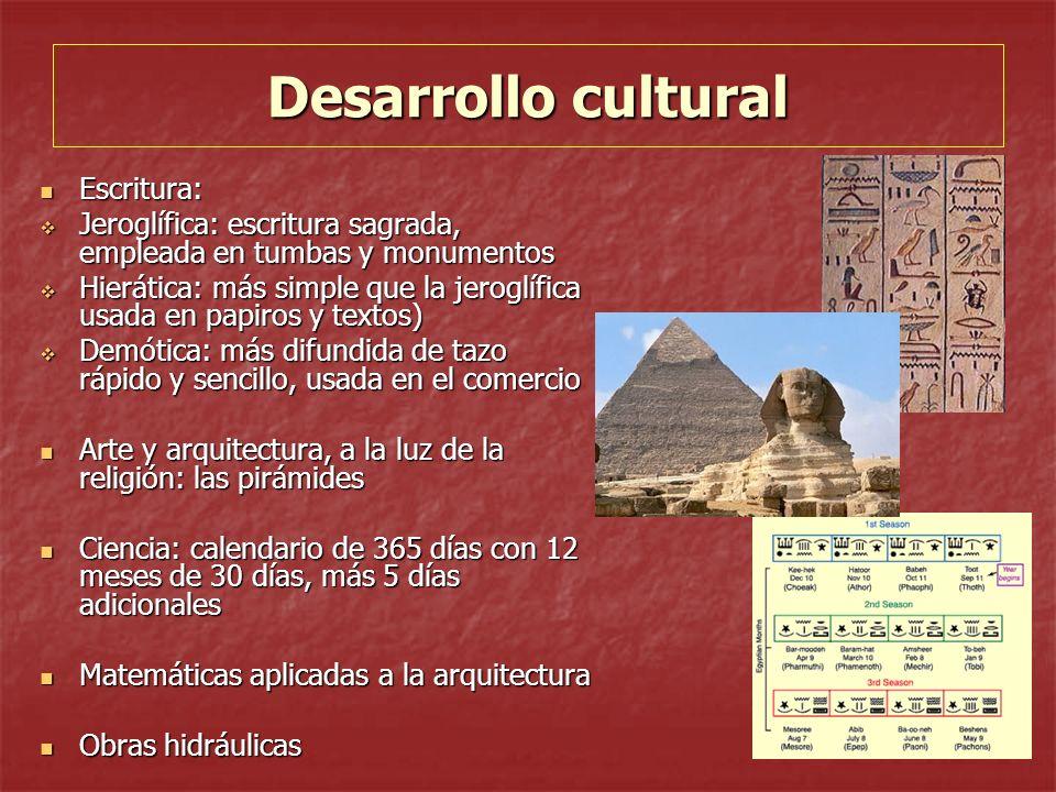 Desarrollo cultural Escritura: Escritura: Jeroglífica: escritura sagrada, empleada en tumbas y monumentos Jeroglífica: escritura sagrada, empleada en