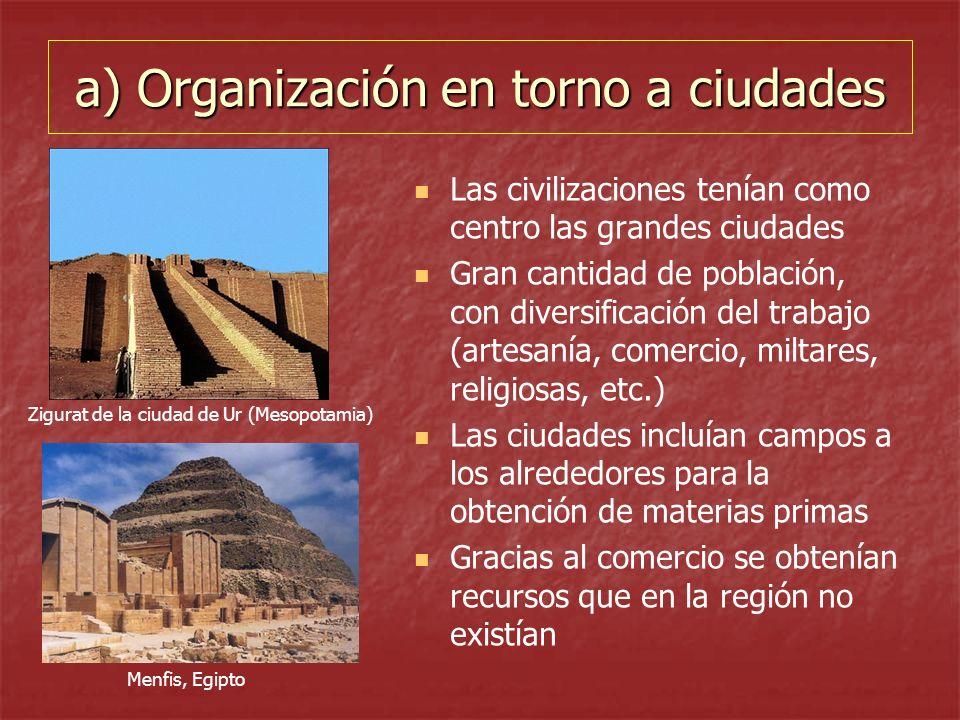 a) Organización en torno a ciudades Las civilizaciones tenían como centro las grandes ciudades Gran cantidad de población, con diversificación del tra