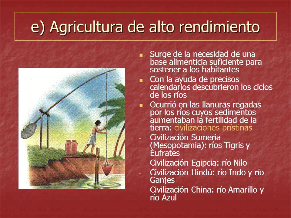 e) Agricultura de alto rendimiento Surge de la necesidad de una base alimenticia suficiente para sostener a los habitantes Con la ayuda de precisos ca