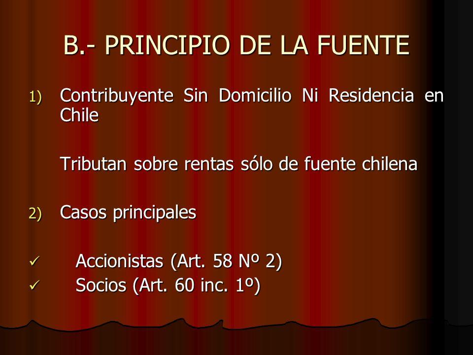 B.- PRINCIPIO DE LA FUENTE 1) Contribuyente Sin Domicilio Ni Residencia en Chile Tributan sobre rentas sólo de fuente chilena 2) Casos principales Acc